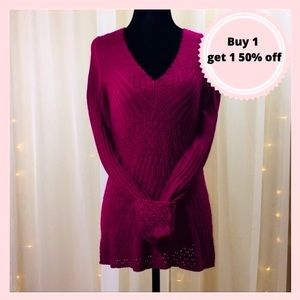 Maroon Knit Detailed Sweater
